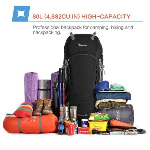 Mountaintop 80L Hiking Backpack High Capacity